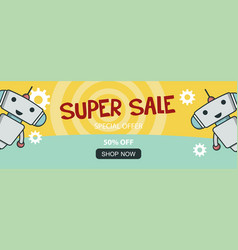 Super sale promo banner with cute robot vector