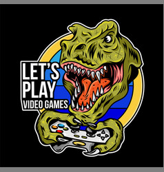t rex angry dinosaur gamer which play game vector image