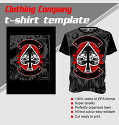 T-shirt template fully editable with skull ace vector