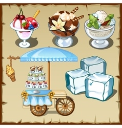 Tasty ice cream and outdoor table on wheels vector image