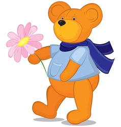 Teddy bear with flower in blue scarf vector