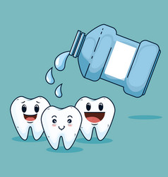 Teeth care treatment with mouthwash equipment vector