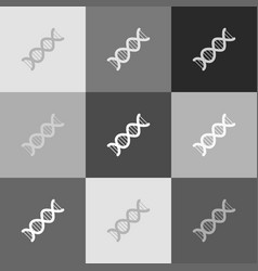 The dna sign grayscale version of popart vector