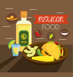 traditional mexican tacos food with tequila vector image