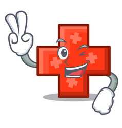 two finger cross character cartoon style vector image