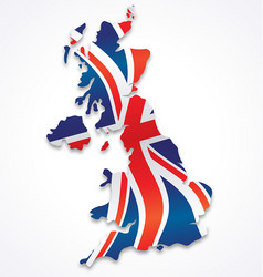 United kingdom great britain map with flag vector