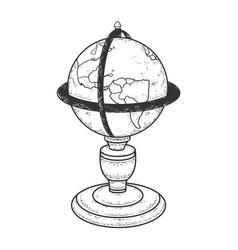vintage globe sketch vector image