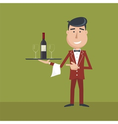 Waiter wine vector