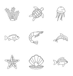 water wildlife icons set outline style vector image