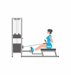 woman doing heavy weight exercise for back vector image
