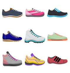 woman sneakers set in cartoon style vector image