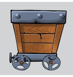Wooden mine cart vector