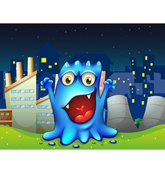 A happy blue monster in the city vector image vector image