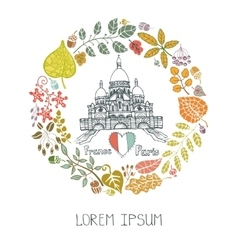 Autumn in ParisLeaves wreath and Sacre Coeur vector image vector image