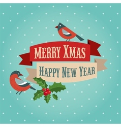 Christmas background with birds and holly leafs vector image