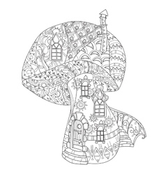 Hand drawn doodle outline magic mushrooms vector image vector image