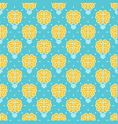 idea pattern design - seamless pattern with brain vector image vector image