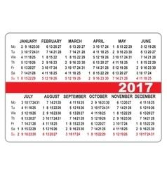 Pocket calendar 2017 first day monday vector