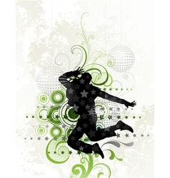 dancer on floral background vector image vector image