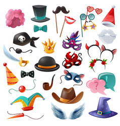 photo booth party icons set vector image vector image