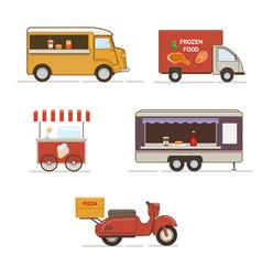 set of street food transport vector image vector image