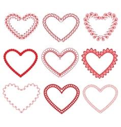 Set of vintage ornamental hearts shapes vector image vector image