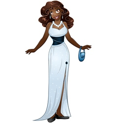 African Woman In White Evening Dress vector image vector image