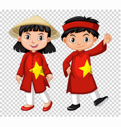 boy and girl from vietnam vector image
