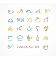 cooking outline icon set vector image vector image