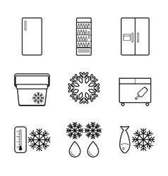 fridge line icons set vector image