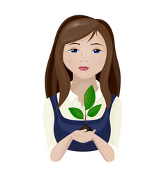 girl with a plant vector image vector image