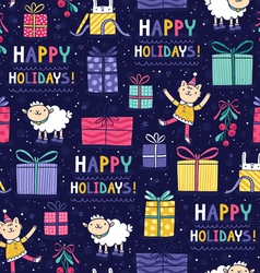 Happy holidays fun seamless pattern vector image