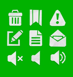 Paper Cut Icons for Web and Mobile Applications Se vector image
