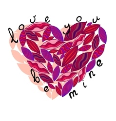 Pink heart from leaves Love you be mine vector image vector image
