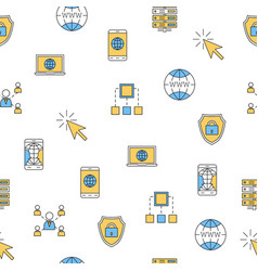 seamless pattern - computer thin line icons vector image vector image