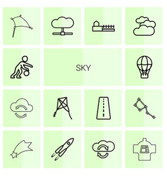 14 sky icons vector image