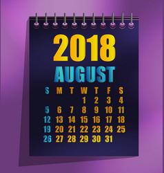 2018 calendar template vector image