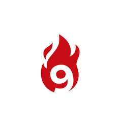 9 nine number fire flame logo icon vector