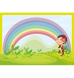 A smiling monkey and a rainbow vector image