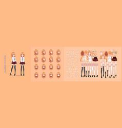 Anime manga girl character animation motion design vector