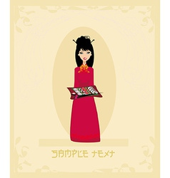Beautiful asian girl enjoy sushi card vector