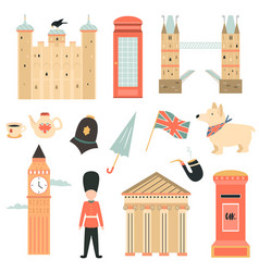 big set of london symbols and attractions vector image