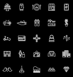 Birthday gift line icons on black background vector image vector image