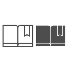 Bookmark with book line and glyph icon read vector