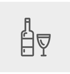 Bottle of whisky and a glass thin line icon vector image