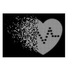 Bright disintegrating pixel halftone dotted heart vector