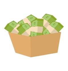 Bucket with money bills vector