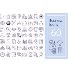 Business icon big set outline icons for vector