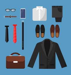 businessman clothes fashion mens items pants vector image