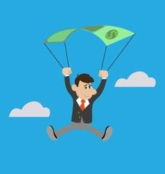 businessman uses the dollar as a parachute vector image